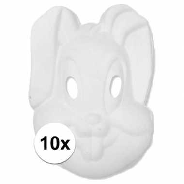 10x papier mache knutsel masker konijn haas