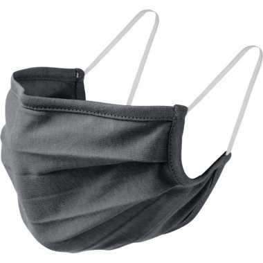 1x grijze mondkapjes van stof herbruikbaar masker