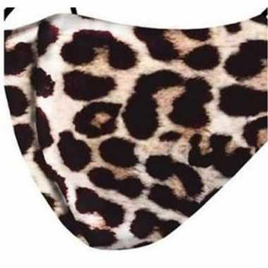 1x mondkapjes met panter print van stof herbruikbaar masker