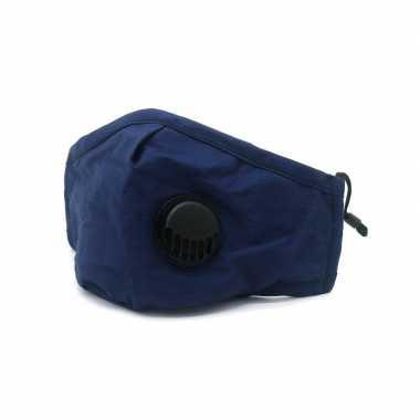 1x navy blauwe herbruikbare mondkapjes met filter voor volwassenen masker