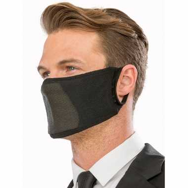1x zwarte ademende stoffen mondkapjes voor volwassenen masker