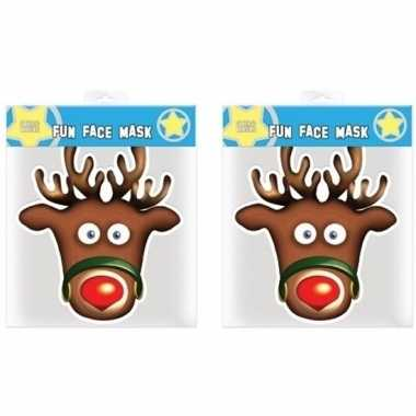 2x kerst rudolph maskers