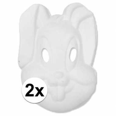 2x papier mache knutsel masker konijn haas
