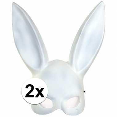 2x wit konijnen/hazen masker voor volwassenen