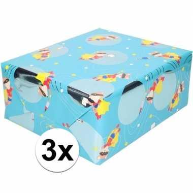 3x inpakpapier cadeaupapier blauw vos met masker 200 x 70 cm rol