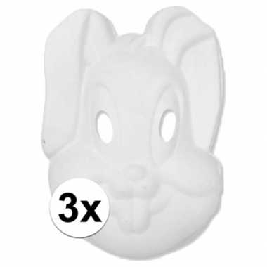 3x papier mache knutsel masker konijn/haas