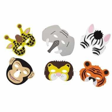 6x dieren foam maskers voor kinderen