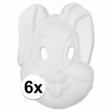 6x papier mache knutsel masker konijn haas