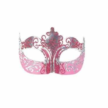 Barok oogmasker goud en roze handgemaakt