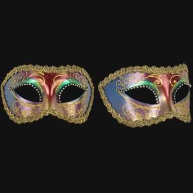 Barok oogmasker veelkleurig handgemaakt