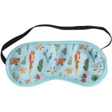 Blauw slaapmasker/oogmasker met papegaaien