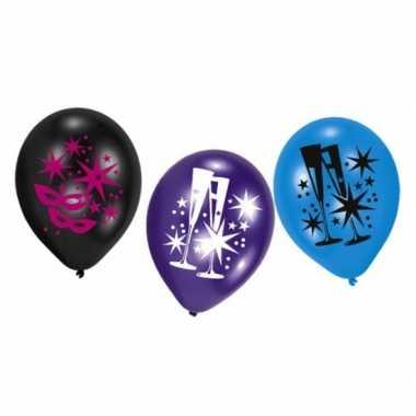 Feestballonnen nieuwjaarsfeest 6 stuks masker