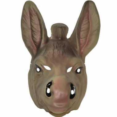 Feestmasker ezel grijs voor volwassenen