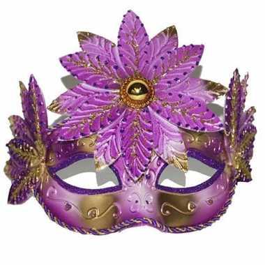 Gemaskerd bal roze/gouden oogmasker