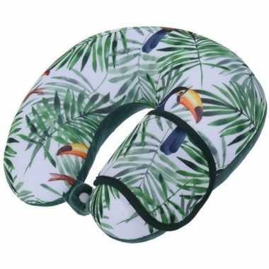 Groen nekkussen/reiskussen en slaapmasker toekans