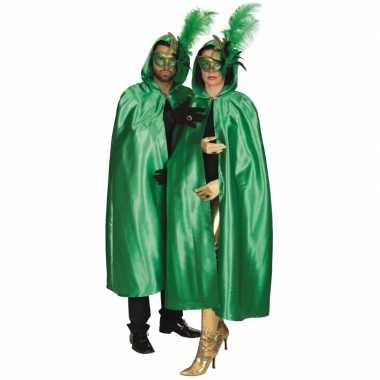Groene satijnen cape voor volwassenen masker