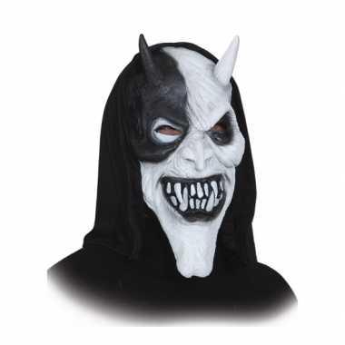 Halloween Duivelsmasker met zwarte kap