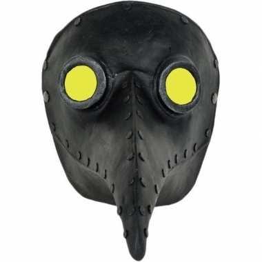 Halloween - venetiaans zwart gezichtsmasker pestdokter/pestmeester ha