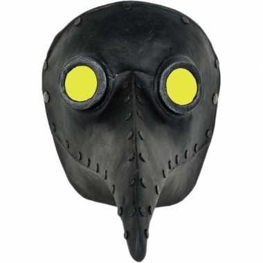 Halloween venetiaans zwart gezichtsmasker pestdokter pestmeester