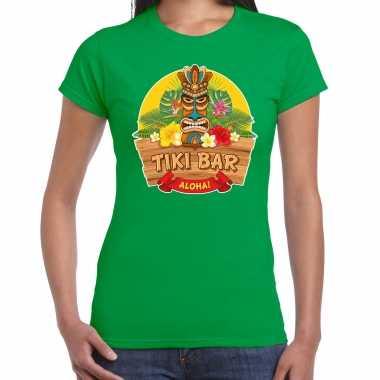 Hawaii feest t-shirt / shirt tiki bar aloha groen voor dames masker
