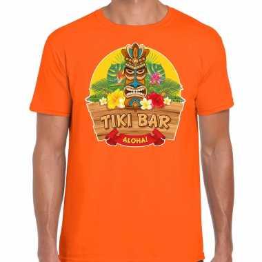 Hawaii feest t-shirt / shirt tiki bar aloha oranje voor heren masker