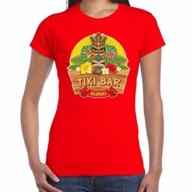 Hawaii feest t-shirt / shirt tiki bar aloha rood voor dames masker