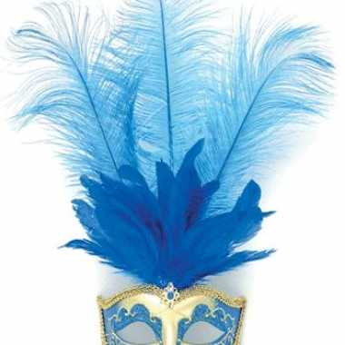 Luxe masker met veren in het blauw