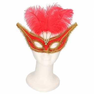 Oogmasker rood/goud met veren voor volwassenen