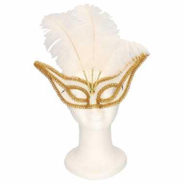 Oogmasker wit/goud met veren voor volwassenen
