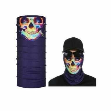 Paars biker masker met gekleurd skelet voor volwassennen