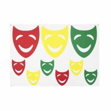 Raamsticker lachende maskers rood/geel/groen 35 x 40 cm carnaval