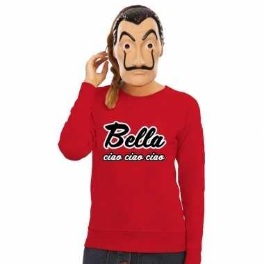 Rode bella ciao sweater met la casa de papel masker dames