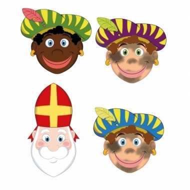 Sinterklaas - 3x zwarte pieten + sinterklaas maskers setje