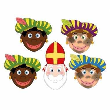 Sinterklaas - 4x zwarte pieten + sinterklaas maskers setje