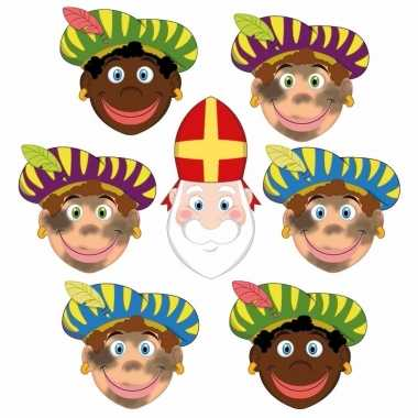 Sinterklaas - 6x zwarte pieten + sinterklaas maskers setje
