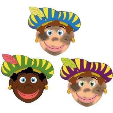 Sinterklaas - zwarte pieten maskers setje 3 stuks