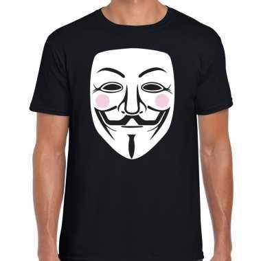 V for vendetta masker t-shirt zwart voor heren