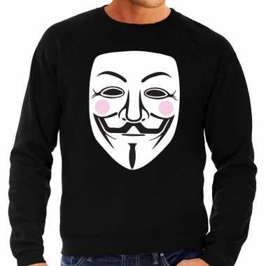 Vendetta masker sweater zwart voor heren