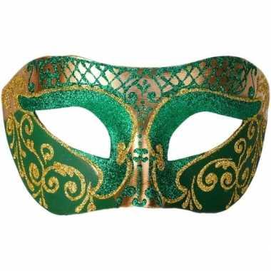Venetiaans glitter oogmasker groen/goud