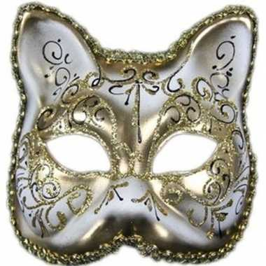 Venetiaans katten/poezen gezichtsmasker wit/goud