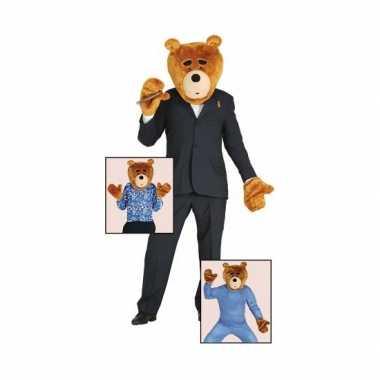 Verkleedset beer van pluche masker