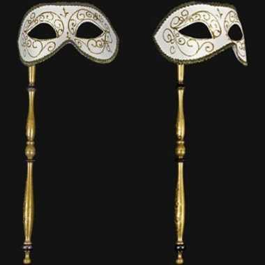 Wit barok oogmasker op stokje handgemaakt