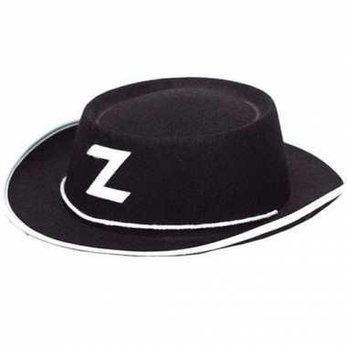 Zorro hoedje zwart voor kinderen masker