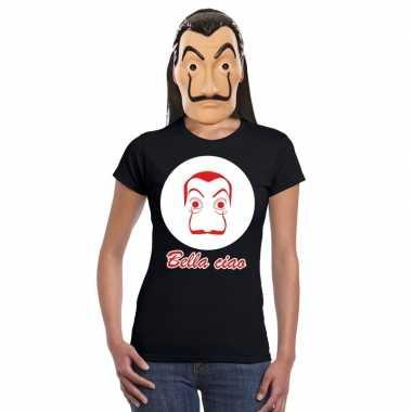 Zwart salvador dali t-shirt met la casa de papel masker dames