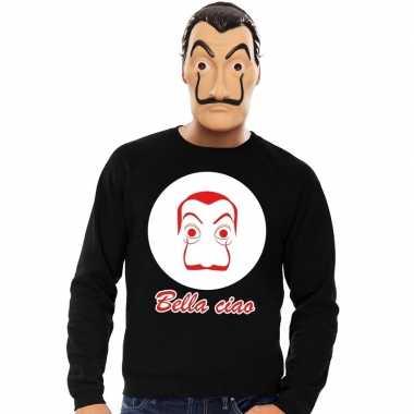 Zwarte salvador dali sweater met la casa de papel masker heren