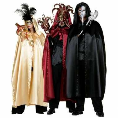 Zwarte venetiaanse cape voor volwassenen masker