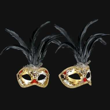 Zwarte veren oogmasker handgemaakt