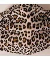 1x mondkapjes met panterprint bruin van stof herbruikbaar masker