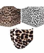 3x mondkapjes met dierenprint van stof herbruikbaar masker