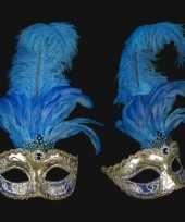 Blauwe veren oogmasker handgemaakt